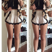 Cute in Ruffle Trimmed Shorts - Nude with Black