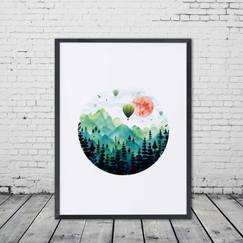 Hot Air Balloon Art Print Paper Watercolor Tattoo Painting Green Mountain Sun Decor Wall Picture for Home Decoration No Frame