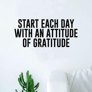 Attitude of Gratitude Quote Wall Decal Sticker Bedroom Home Room Art Vinyl Inspirational Teen Family Kids Nursery Good Vibes