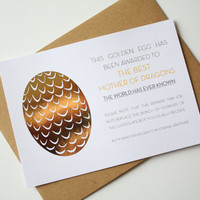 Game of Thrones Mother's Day Card Happy Birthday card Mom - Golden Egg Award to to best Mother of Dragons