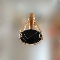 Amazing HandCrafted OOAK Black Agate Stone Wire-Wrapped In 14K GF Wire Cage