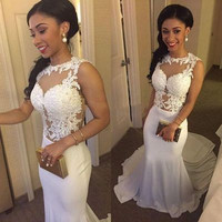 long Prom Dress,lace Prom Dress,white Prom Dress,formal Prom Dress,evening dress 2016,PD222