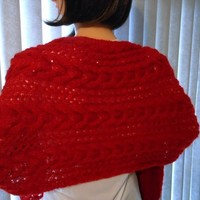 Hand Knit Cables and Lace Ruby Red Shawl with Sequin | Cathy Creates - Handmade knit and crochet accessories and apparel