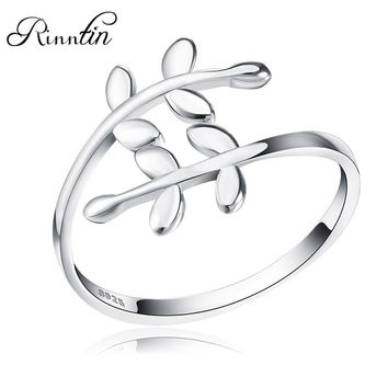 Rinntin Sterling Silver S925 Cute Leave Design Open Cuff Adjustable Rings Elegant Engagement Party Women Ring Jewelry Gift TSR12