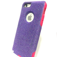 Custom iPhone 6 (4.7 inch) Glitter Otterbox Commuter Cute Case,  Custom  Glitter purple / Pink Otterbox Color Cover for iPhone 6