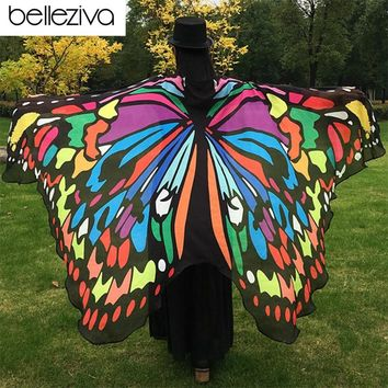Belleziva Hot Pareo Beach Cover Up Butterfly Wing Cape Bikini Cover Up Swimwear Women Robe De Plage Beach Bathing Suit Cover Up