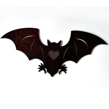 Black Bat wall art with engraved heart and red sparkles. Laser cut wall hanging. For the Bat lover.
