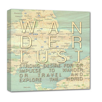 Wanderlust Personalized Atlas Map, Custom Map for Anniversaries, Weddings, Birthdays, New Home, Vintage Map 20X20