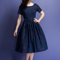 Vintage late 50s/early 60s L'Aiglon dress / blue and purple floral / pin-tucked bodice / nipped waist / full skirt / size S/M