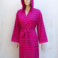 Women's black striped fuchsia pink colour Turkish cotton terry hooded bathrobe, hooded dressing gown, pool bathrobe.