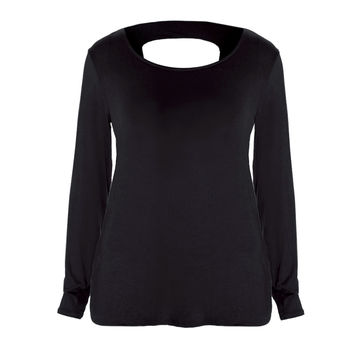 Twist Back Basic Top, Black