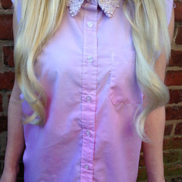 Lilac and Pink DIP DYED Vest Shirt with Lacey Collar