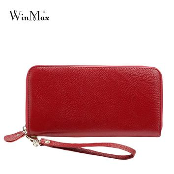 Winmax High quality Fashion Women Wallets Long Dull Polish genuine Leather Wallet Clutch real leather Coin Lady Purse with belt