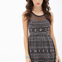 FOREVER 21 Western-Inspired Fit & Flare Dress Black/Beige