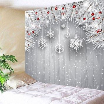 Christmas Snowflake Printed Wall Hanging Tapestry - Silver Gray W79 Inch * L59 Inch