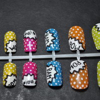 Comic Book Nail Art- Hand Painted Fake Nails Set