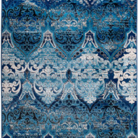 4628 Blue Ivory Panels Traditional Area Rugs