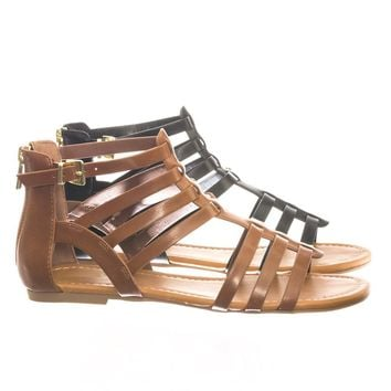 Dixon Gladiator Inspired Ankle High Cage Strap Flat Sandal w Zipper Closure