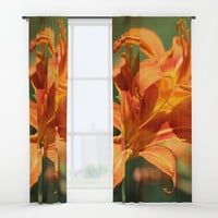Lilies Come Lately Window Curtains by Theresa Campbell D'August Art