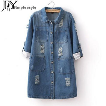 JY.New Fashion Spring Autumn Women Long Sleeve Roll Up Jeans Coat Female Casual Ripped Long Denim Jacket Outerwear 5XL