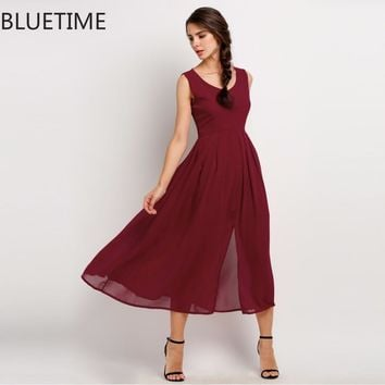 Elegant Party Dress Women Pin Up Sleeveless Summer Maxi Dresses Wine Red Split Chiffon Long Dress Vestidos De Fiesta Largos 20