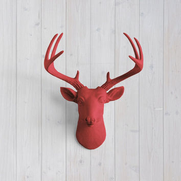 The MINI Virginia Cardinal Red Faux Taxidermy Resin Deer Head Wall Mount | Cardinal Red Stag w/ Colored Antlers