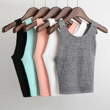 Solid Cropped Knitted Stretch T-shirts [4920535620]