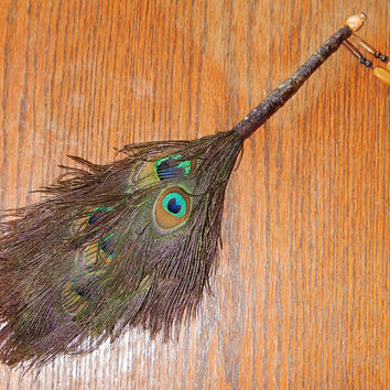 Feather Besom Broom or Smudge Wand - Peacock Feathers with Yellow Aventurine Beads and Genuine Citrine - Wiccan Besom - OOAK - Free Shipping