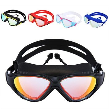 2018 *Swimming Goggles Men Women High Definition Waterproof Anti-fog Flat Mirror Glasses Large Frame Lens Eyewear With Ear Plug