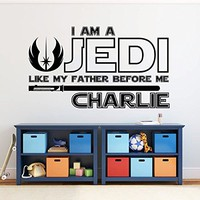 I Am a Jedi, Like My Father Before Me Wall Decal Vinyl Sticker Decals Quotes Star Wars Wall Decal Quote Boy Name Wall Decal Nursery x282