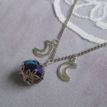 witchy crystal ball necklace, pastel goth, kawaii, nu goth, pagan jewelry, wiccan jewelry, elven jewelry, celestial jewelry