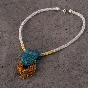 Bib Necklace - Wire and Freshwater Pearls Nature Inspired Statement Necklace, Blue Mustard Gold Silver