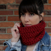 SCARF - COWL Scarf - Crochet Cowl Scarf in Cranberry Red - Fall Fashion Scarf - Winter Fashion Scarf -  Handmade Knit Scarves