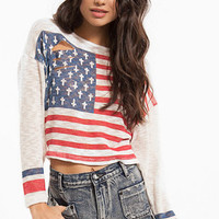 Torn American Flag Sweater $26