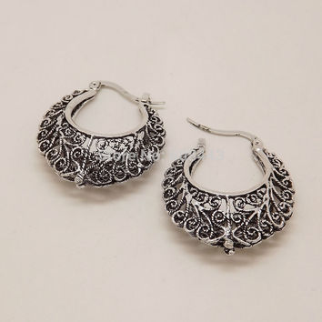 EQ247 Hollow Out Vine Antique Silver Color Vintage Earrings For Women New Jewelry Bijouterie Free shipping