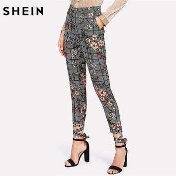 SHEIN Spring Plaid Pants Women Casual Trousers Crisscross Knot Women Multicolor Floral Mid Waist Zipper Fly Skinny Pants