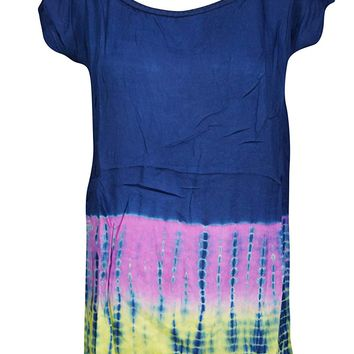 Mogul Interior Venus Womens Summer Tunic Top Tie-dye Gauzy Rayon Blue Boho Style Beach Blouse Tops X-L