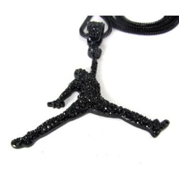 AIR MICHAEL JORDAN PENDANT & FRANCO CHAIN NECKLACE BLACK HEMATITE JUMPMAN