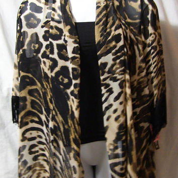 Leopard Print Jacket, Black Beige, Sheer Chiffon, Black Fringe Accents, Size L Large, R M Richards, Office, Church, Resort Cruise Wear