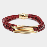 Burgundy & Gold Curve Tube Multi Strand Magnetic Bracelet