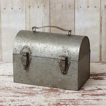Vintage Inspired Silver Metal Full Size Dome Lunchbox