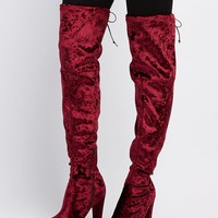 Velvet Tie-Back Over-The-Knee Boots