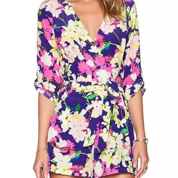 Fashion V-neck Flower Printed Long Sleeve Rompers