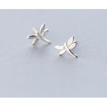 Real. 925 Sterling Silver Jewelry Dragonfly stud Earrings Insect 7mm*8mm GTLE986