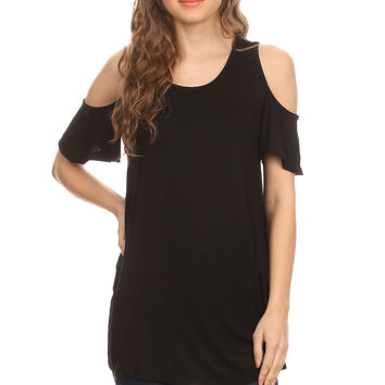 Off the Shoulder Tunic Top Cold Shoulder Top, Open Shoulder Tunic Tops for Women