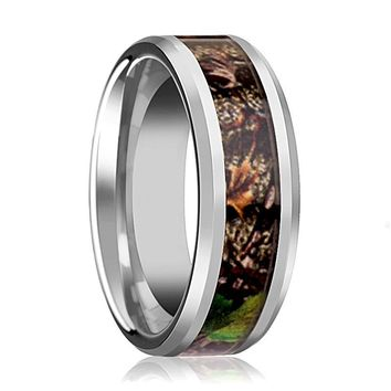 Tungsten Camo Ring - Tree Camo - Green Leaves Camo - Tungsten Wedding Band - Beveled - Polished Finish - 8mm - Tungsten Wedding Ring