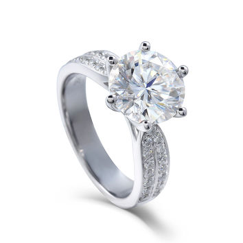 Transgems Moissanites Lab Grown Diamond Engagement Ring 3 CT D Color Real Diamond Accent 14k White Gold Engagement Wedding Rings