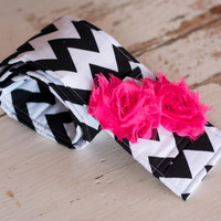 DSLR Camera Strap Cover- lens cap pocket and padding included- Shabby Chic Black and White Chevron with Hot PInk