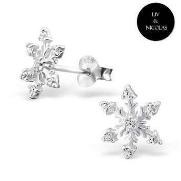 Solid 925 Sterling Silver White Cubic Zirconia Snowflake Earrings