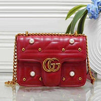 Gucci ladies fashion leather shoulder bag Messenger bag F Red